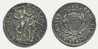 Scudo Lucchese in argento del 1743